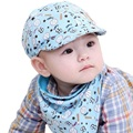 Spring Cartoon Baby Hat Set Cotton Toddler Infant Saliva Towel Child Caps Scarf Baby Baseball Caps for Boys Girls Bandana Bibs