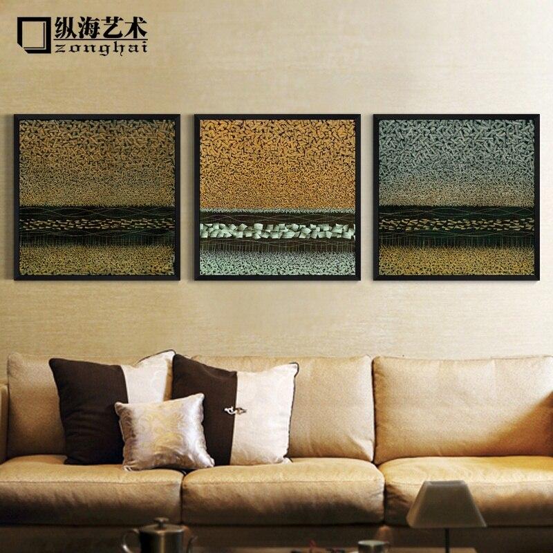 Mar Vertical Art Deco de la sala triple de la pintura abstracta ...