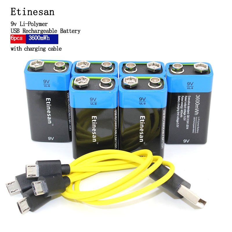 Etinesan 6pcs 3600mWh 9V li-ion lithium li-polymer Rechargeable Battery USB Battery with USB charging cable Toy flashlight pixel m8 wireless universal speedlight flash light gn60 for canon nikon sony pentax fujifilm lumix dslr camera vs jy680a yn560iv