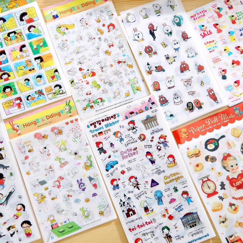 6pcs/lot Creative Cat Girl Rabbit Decorative Stickers For Phone Diary Sticker Scrapbook Decoration PVC Stationery Stickers