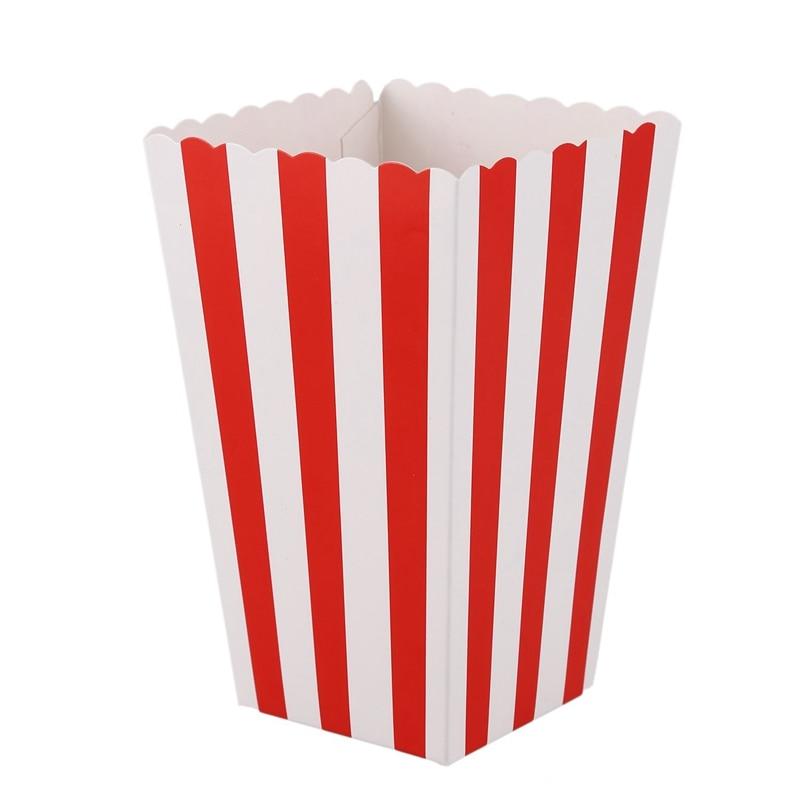 12 кинотеатральных полосок, небольшие конфеты, любимые коробки для попкорна, красные