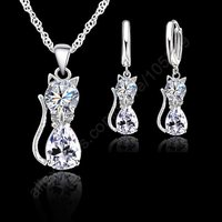 JEXXI Jewellery Sets Accessories Genuine 925 Sterling Silver Cubic Zirconia Cat Kitty Necklace Pendant Leverback Earrings