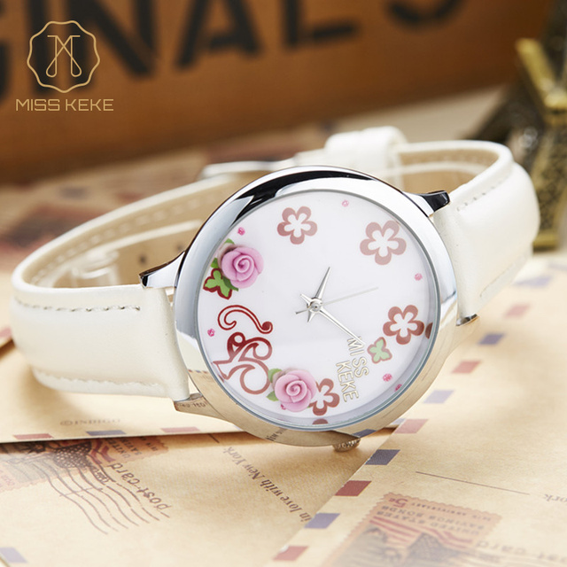 Miss Keke Children Cartoon Quartz-Watch 3D Dial Floral Girls Kids Watches Leather Casual Bracelet Wristwatch 11 montre enfant
