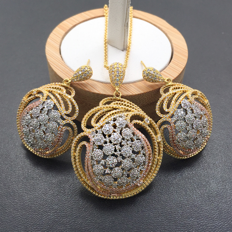 Lanyika Jewelry Set Super Luxury Stylish Ball Full Zircon Micro Plated Necklace with Earrings Anniversary Bridal