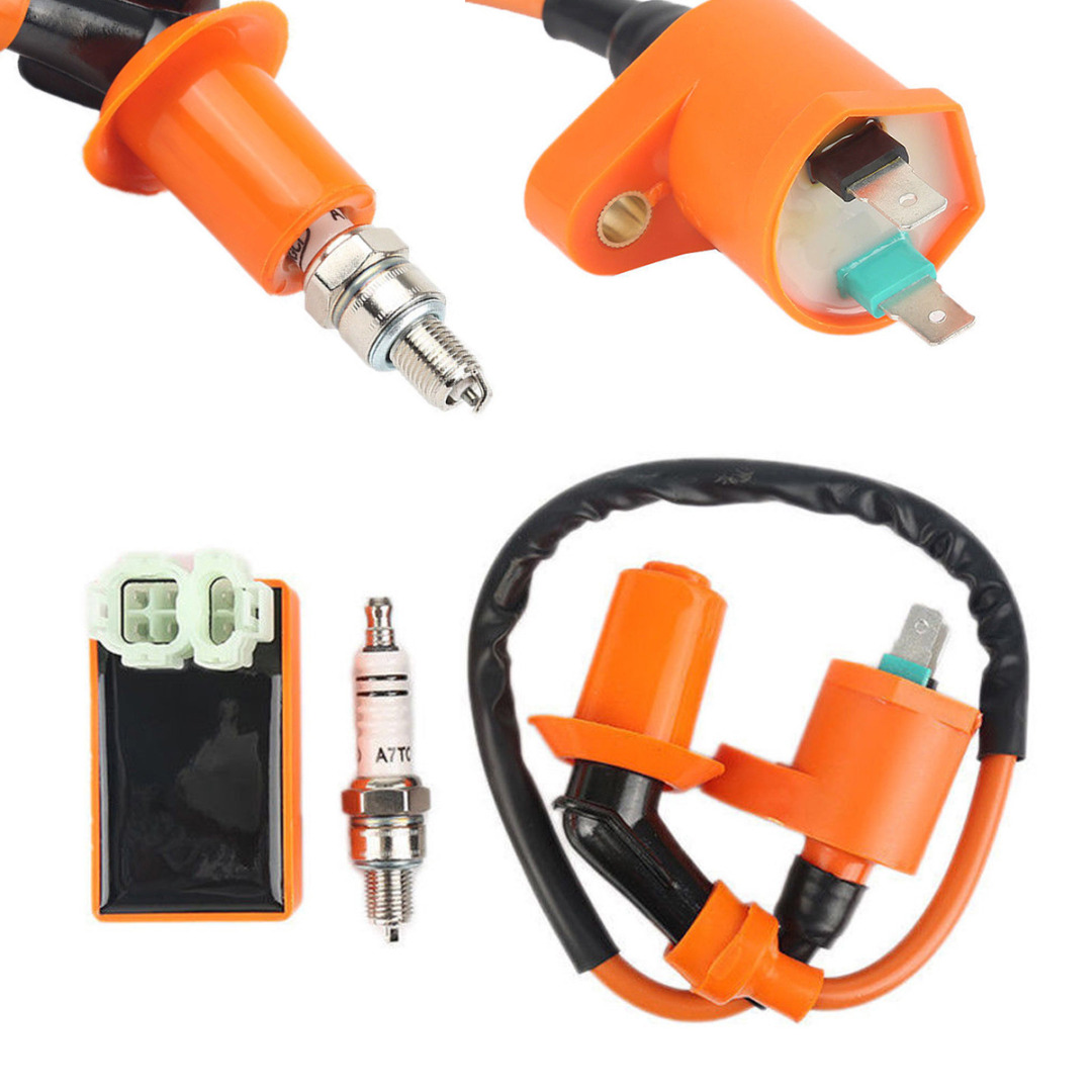 Image 2 - Motorbike Ingition Set 1pc Racing CDI + Spark Plug + Ignition Coil Kits For GY6 50/125/150CC 4 stroke Scooter Parts-in Motorbike Ingition from Automobiles & Motorcycles