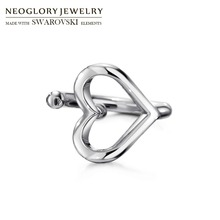 Neoglory, металлические запонки, клипсы, серебряный цвет, модное сердце для леди, милые ювелирные изделия, новинка, элегантный подарок, любовь