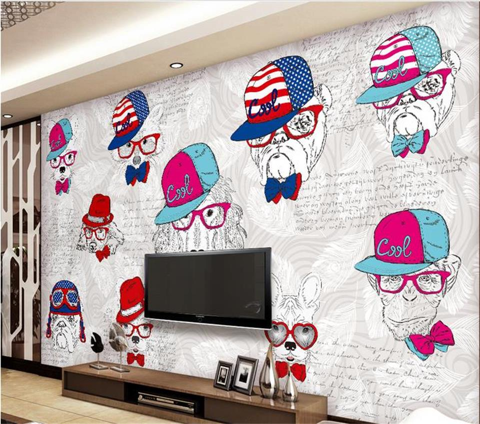 compare prices on 3d animal wallpaper online shopping buy low custom mural photo 3d room wallpaper 3d simple cartoon animals hat cool picture painting 3d wall