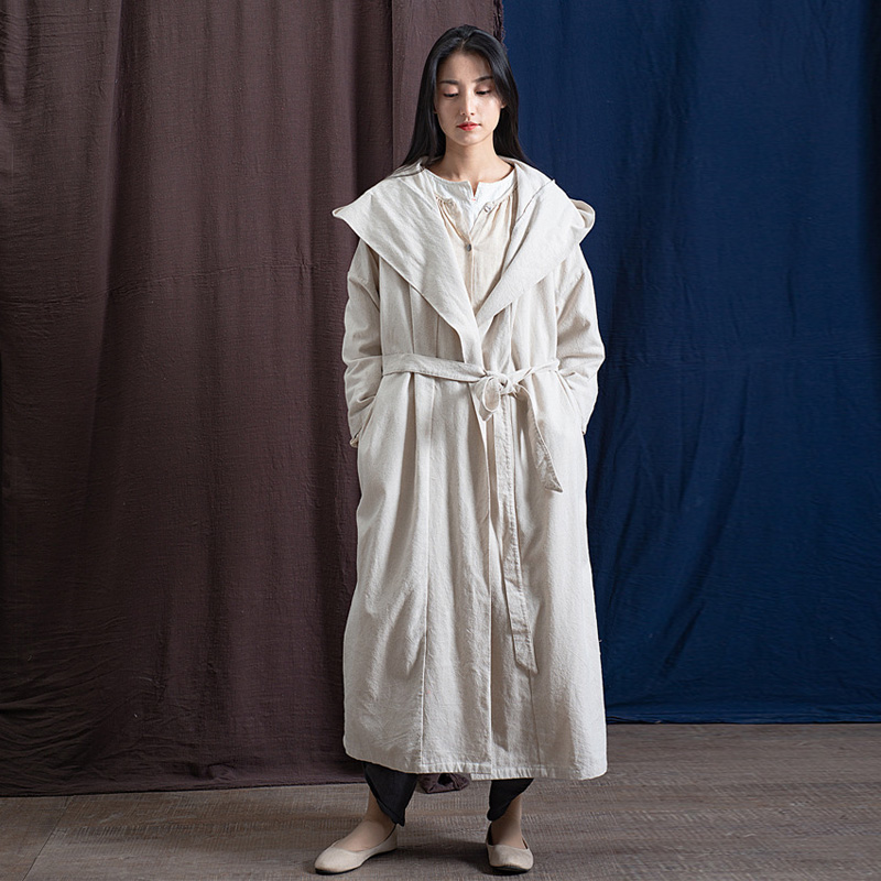 Johnature Hooded Trench For Women Linen Bandage Coats Loose 4 Color 2019 Spring New Original Women
