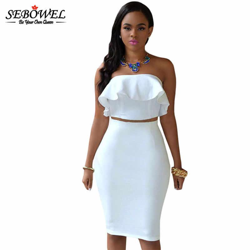 ac3581e9c8a2 ... SEBOWEL Sexy Elegant Strapless Bodycon Party Club Dress Women Two Piece  Dress Sleeveless Crop Top ...