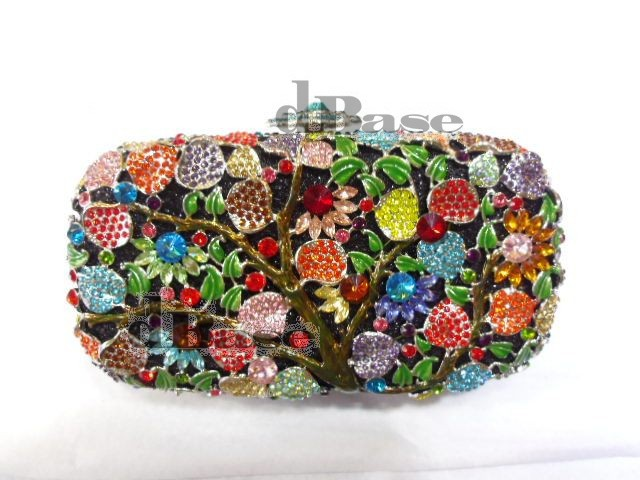 ФОТО 8267A Multi-color TREE Floral Flower Crystal Bridal Party Night Hollow Metal Evening purse clutch bag case handbag