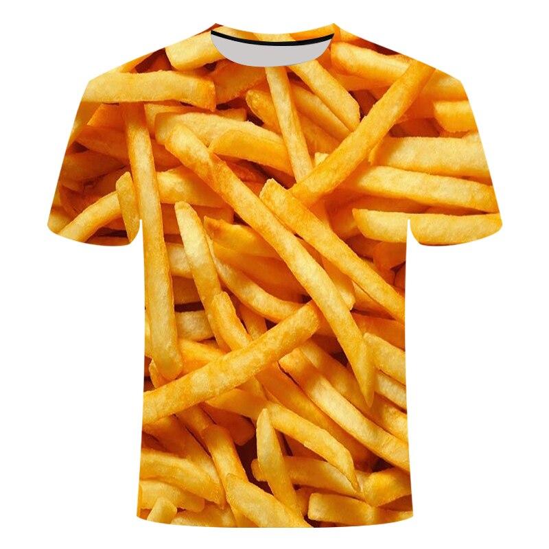 Frites 3D t-shirt Grappige t-shirt Mannen t-shirt homme t-shirts Streatwear hauts Korte Mouw Kleding unisexe HipHop asiatique taille s-6xl