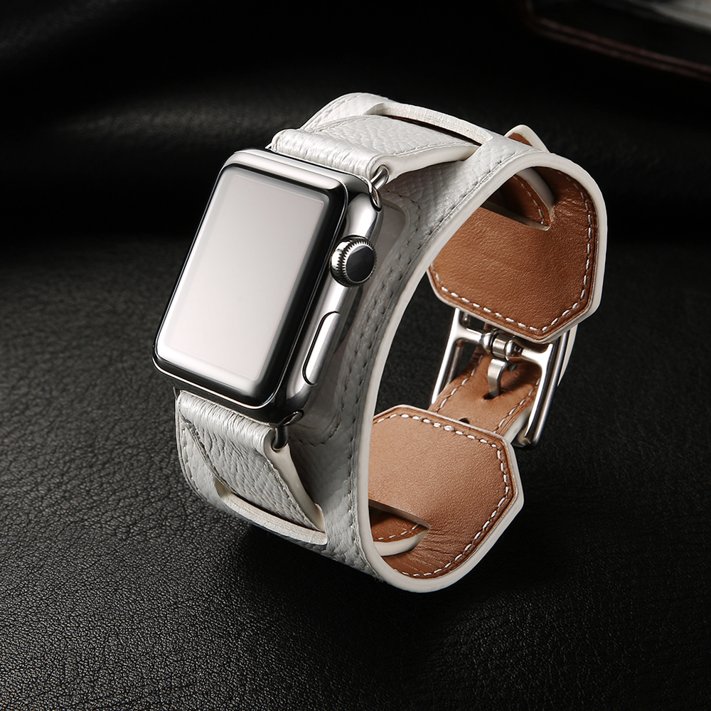Luxury Top Genuine Leather Cuff Bracelet Belt 1:1 For Apple Watch Band 38mm 40mm 42mm 44mm Leather Series 1 2 3 4 Strap With Box