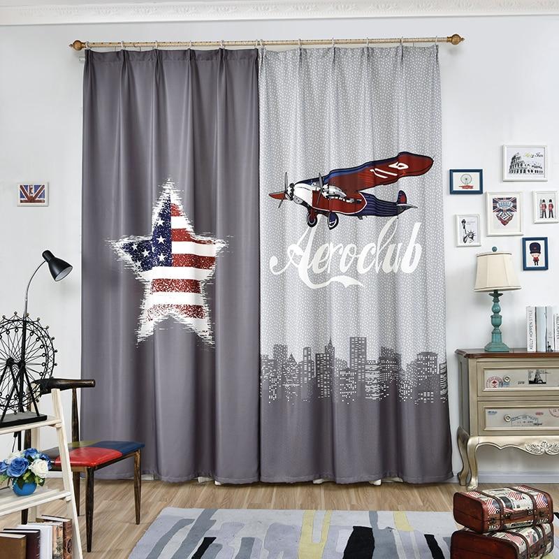 Us 3957 Pojedyncze Panele 3d Dzieci Zasłony Do Sypialni Dekoracja Okienna W Stylu Amerykańskim Statku Powietrznego Gwiazda Wzór Okna Zasłony Dla