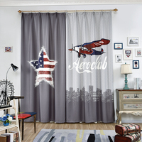Single Panels 3d Kids Curtains For Bedroom Window Decoration American Style Aircraft Star pattern Window Curtain Children Room