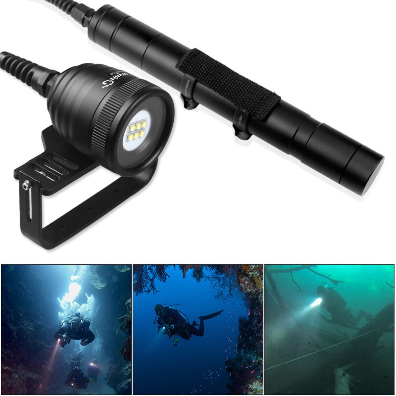 DIV10W Professional Diving Torch Flashlight Waterproof 4500Lm 6x XM-L2 U2 LED Underwater 200m 5 Modes Diver Flash Light Lamp brinyte div10w led canister video light cree xml2 4500lm led scuba diving torch flashlight 200m underwater lamp