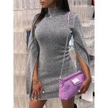 Turtleneck dress women slit flare sleeve bodycon dress Autumn shinny mini dresses Silver glitter party dress vestiods mujer