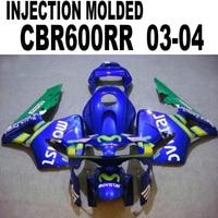 Para Honda CBR600 2003 2004 04 03 (ajuste 100% MOVISTAR Carenados azules) de Inyección kit de Carenado cbr600 l-18