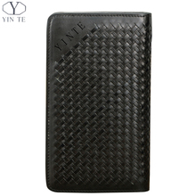 The NEW Business Mens Genuine Leather Clutch one ziipper,Hand-Woven bag with card ,crash money