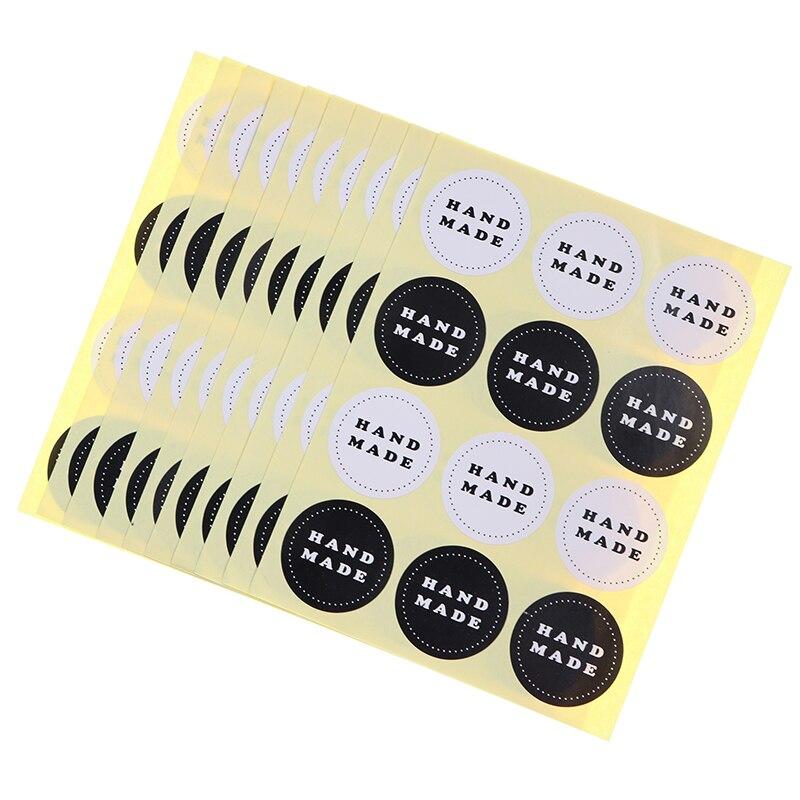 120 шт./10 листов черный и белый круглый этикеток Hand Made уплотнительные наклейки выпечки упаковки печенья сумки декоративная печать наклейки