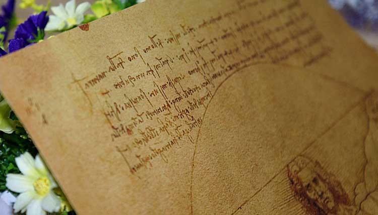vintage Leonardo Da Vinci paper poster