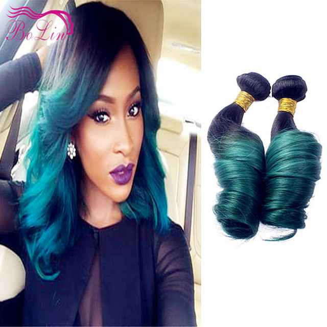 7a Loose Wave Virgin Two Tone Ombre Peruvian 1b Dark Green Ombre