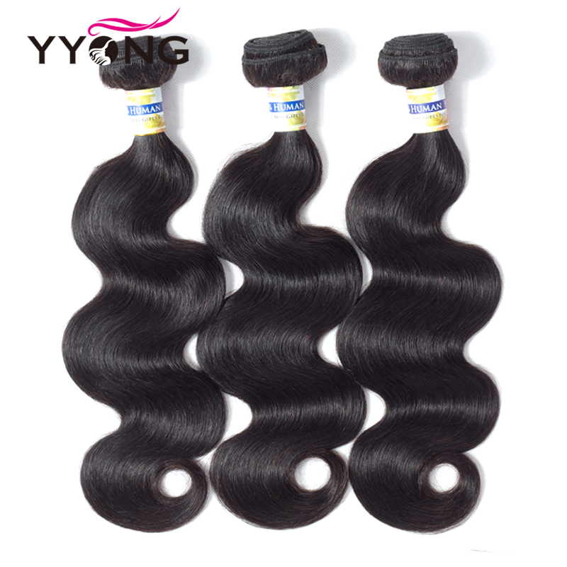 Yyong 100% Human Hair 3 Bundles Brazilian Body Wave Hair Weaving Only 8-26 3Pc/Lot Natural Color Remy Hair Extensions Sales