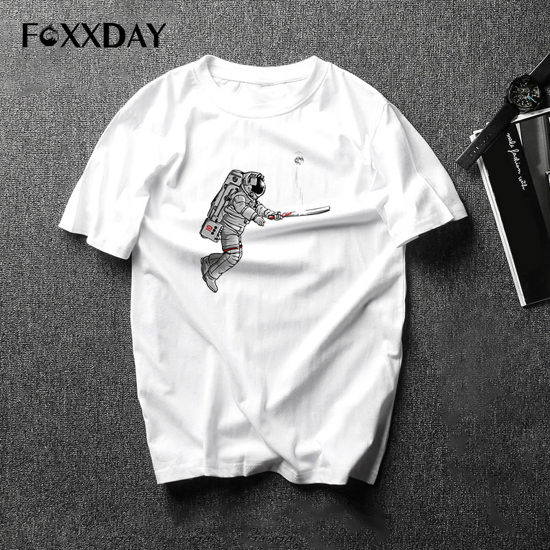 Funny T-shirt Thumb Up Astronaut Print Male T Shirt Novelty Spaceman Cartoon Tees shirt Men Short sleeve Free shipping Camiseta