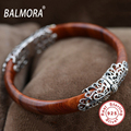 New Retro 100% Real 925 Sterling Silver Jewelry about 18cm Red Round Charm Bangles for Women High Quality Free Shipping TRS50065