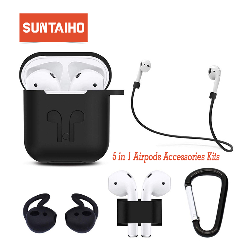 Suntaiho 5 In1 For Airpods Case Soft TPU Silicone Protector Case For Airpods Cover Earphone Sleeve For Apple Airpod Charging Box