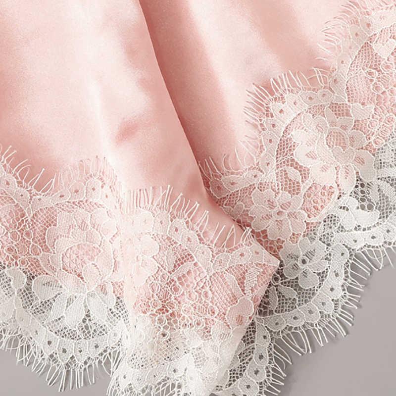 Renda Cami Top dengan Satin Celana Pendek Pakaian Dalam Set Wanita 2019 Musim Panas Seksi Piyama Set Wanita Bra dan Panty Underwear Set baju Tidur