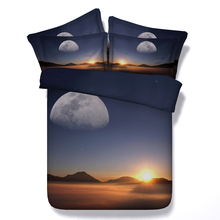 3D Moon and Stars Sunset Bedding set duvet cover bed sheets spread bedspread quilt doona Super King Queen size full twin 4pcs