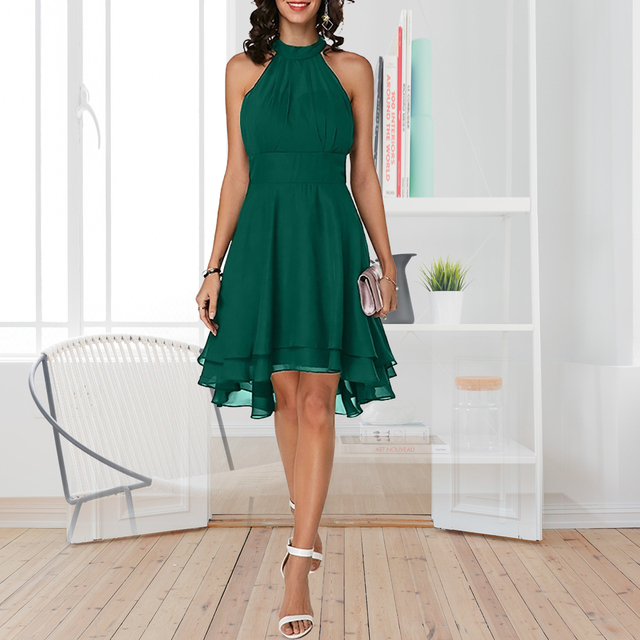 Plus Size Summer Dress 2019 Sexy High Waist Solid Color Cropped Layered Halter Sleeveless Chiffon Party Casual Slim Dress 3