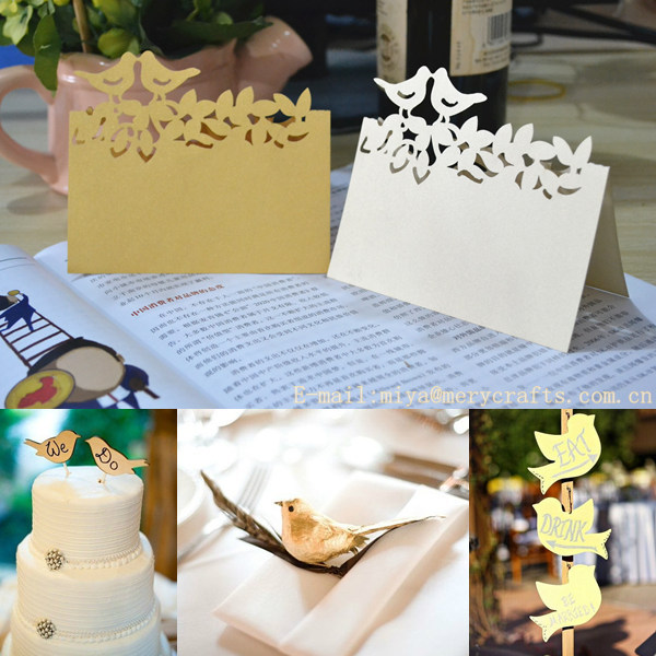 love birds name cards,wedding place cards,laser cut wedding cards table
