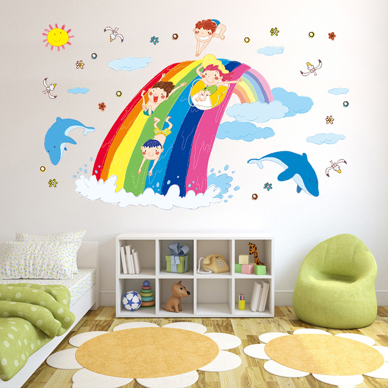 Buy 50 70cm inch cartoon for Rainbow wallpaper for kids room