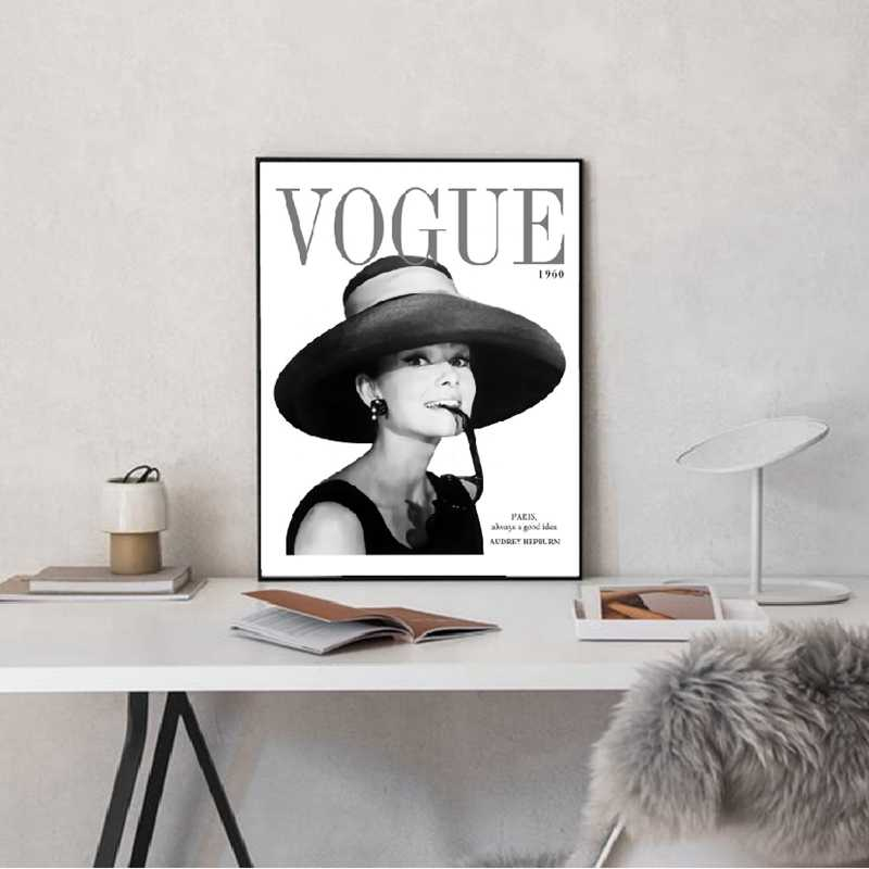 Vogue 1960 Cover Audrey Hepburn Bubble Canvas Art Print and Poster Fashion Photo Painting Wall Pictures Living Room Decor