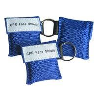 Оптовой 500 шт./лот синий мешок маска для искусственного дыхания при реанимации брелок первой помощи лицо щит маска для искуственного дыхани