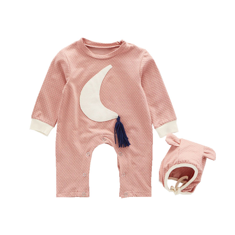 2017 Hot Selling Baby Boy Girl Clothes Newborn Unisex Cotton Moon Embroidery Newborn Baby Romper+Hat 2PCS Infant Clothing Set unisex newborn baby boy