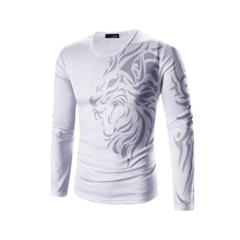 Men T Shirt 2017 New Summer Fashion O-Neck Long Sleeves Slim Dragon Prints T-Shirt Man Casual Undershirt Top Tees Plus Size 3XL