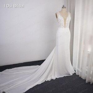 Image 5 - عميق الخامس العنق فستان الزفاف غمد الشيفون الدانتيل فستان زفاف أنيق