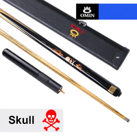 2018 NEW OMIN Skull Billiards 3/4 Snooker Cue 10mm Tip with Snooker Cue Case Set China 8 Years Ash Wood