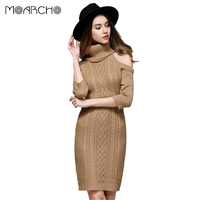 MOARCHO 2017 Fashion Women Half Sleeve Sweater Sexy Turtleneck Strapless Pollovers Knitted Sweaters Ladies Tight Casual