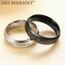 AZIZ BEKKAOUI Customized Name Wedding Rings Stainless Steel Finger Rings Beast Beauty Black & Silver Wedding Ring for Men Women(China)