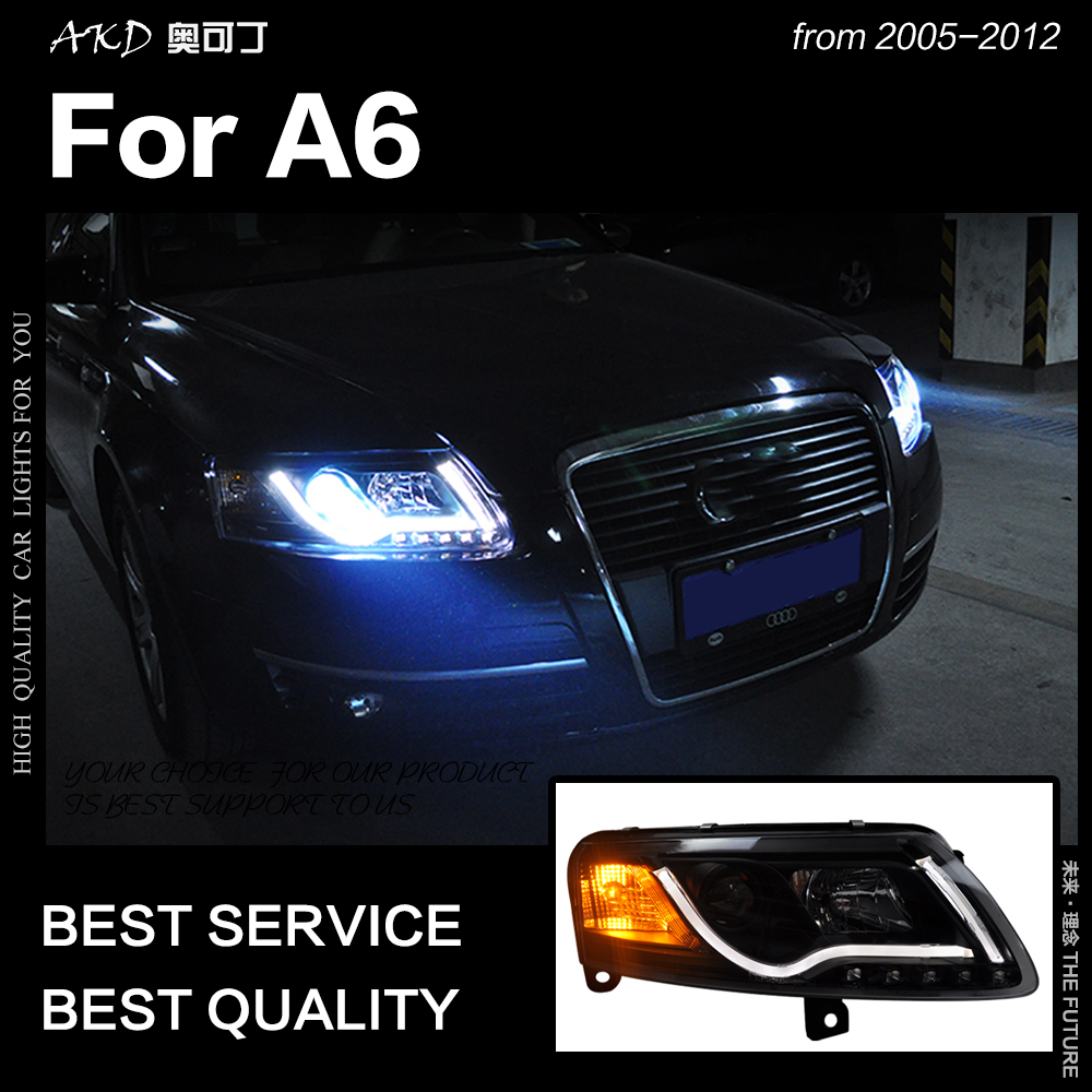 AKD Car Styling pour A6 Phares 2005-2011 A6 C5 C6 Taiwan Sonar LED Phare LED DRL Hid Bi xenon Tête Lampe Auto Accessoires