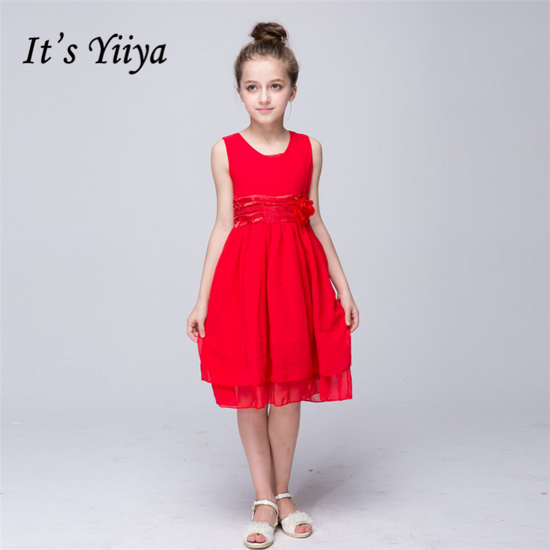It's YiiYa 5 Colors Chiffon Sleeveless O-Neck Bow Appliques Lace Sashes   Flowers   Kids Princess   Flower     Girls     Dress   Communion TS100