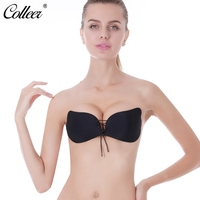 COLLEER Sexy Push Up Bra Silicone Lace Up Bralette Big Size Front Closure Invisible Strapless Bras