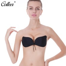 86200a2b52b COLLEER Sexy Push Up Bra Silicone Lace Up Bralette Big Size BH soutien  gorge Invisible Strapless