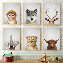 Elephant Wolf Leopard Deer Monkey Bison Wall Art Canvas Painting Nordic Posters And Prints Pictures Baby Kids Room Decor