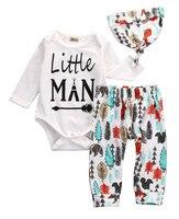 Newborn Baby Boys Girls Clothes Tops Romper Pants Leggings Hat Outfits 3PCS Set