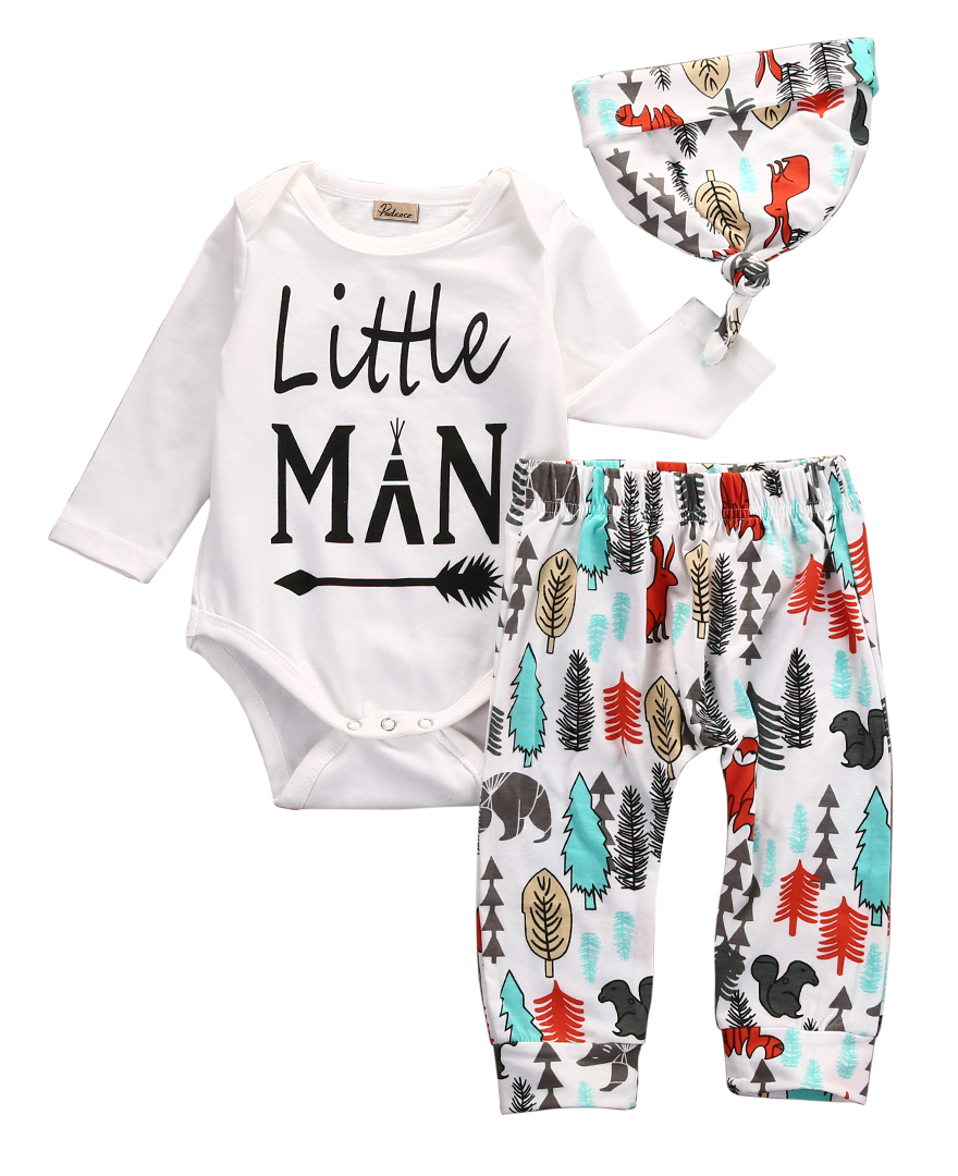 Newborn Baby Boys Girls Clothes Tops Romper Pants Leggings Hat Outfits 3PCS Set 3pcs set newborn baby boys girls clothes set tops rompers cotton pants leggings hat outfits clothing baby boy 0 18m