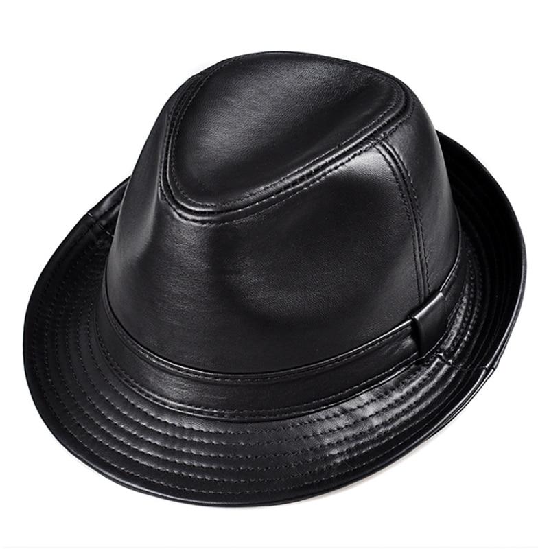 Winter Genuine Leather Wide Brim Stetson Fedoras British Hats For Men Women Gentman Black 55 61cm